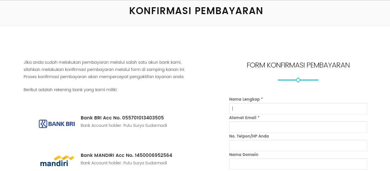 Panduan Cara Konfirmasi Pembayaran Layanan Dicloud.id