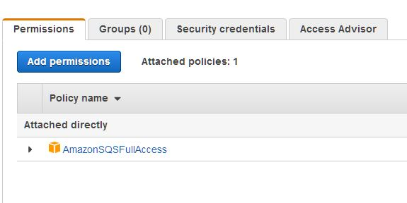 create aws user dengan akses amazonsqs full access Microservices